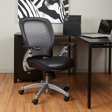 Office Star Air Grid Chair With Leather Seat   Black