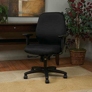 Work Smart Mid Back 2-to-1 Synchro Tilt Chair with 2 -Way Adjustable Soft Padded Arms