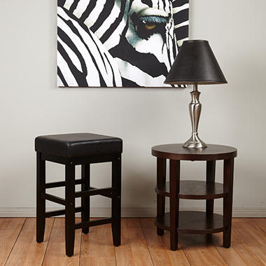 "OSP Designs Metro 25"" Square Barstool with Black Faux ..."