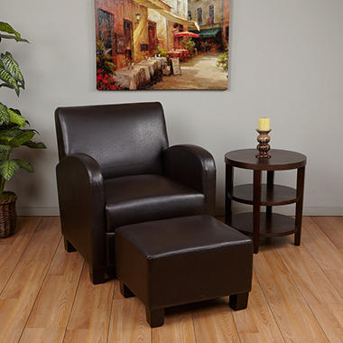 Exceptional Espresso Faux Leather Club Chair With Ottoman