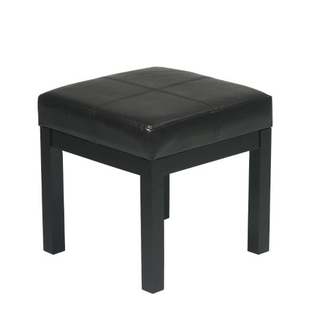 OSP Designs Metro Square Bench with Dark Brown Faux Leather Padded Seat