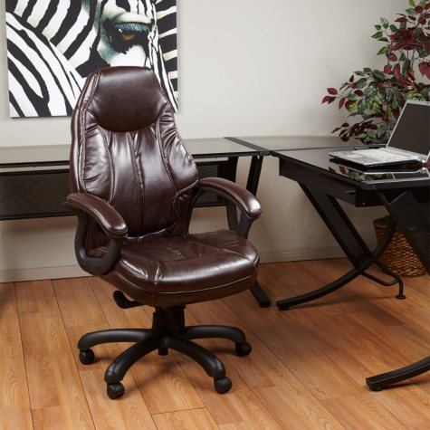 Deluxe Oversized Faux Leather Exec Chair - Chocolate