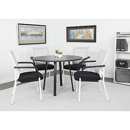 "OSP Home Furnishings Prado 42"" Round Conference Table with Laminate Top and Metal Legs, Various Colors"