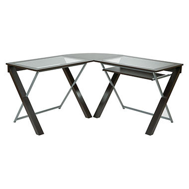 osp lshaped computer desk with glass top espresso