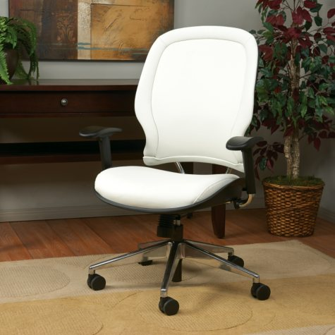 Space Seating Deluxe Managers Chair With Vinyl Back and Seat - White