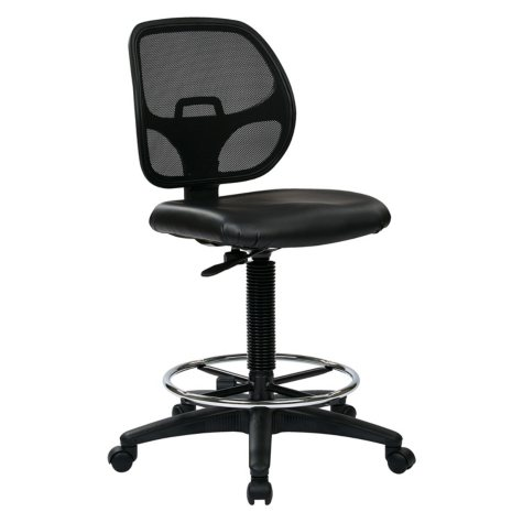 "Work Smart Deluxe Mesh Back Drafting Chair with 20"" Diameter Foot ring - Black"
