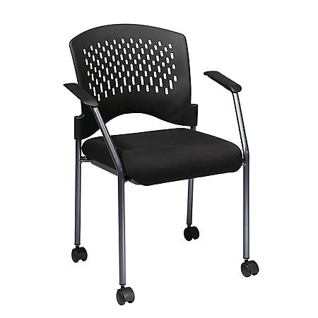 Office Star Pro-Line II Rolling Vistors Chair, Black