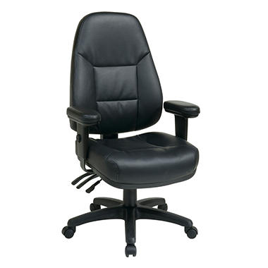 Office Star Work Smart Professional Dual Function Ergonomic High Back Leather Chair Black