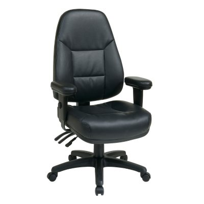 Office Star Work Smart Professional Dual Function Ergonomic High Back  Leather Chair, Black