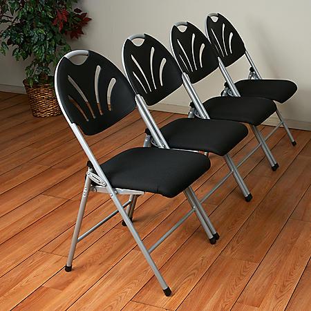 Work Smart Folding Chair with Fan Back, Silver/Black - 4 pack