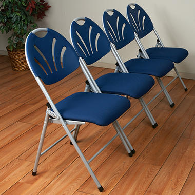 Work Smart Folding Chair, Silver/Blue   4 Pack