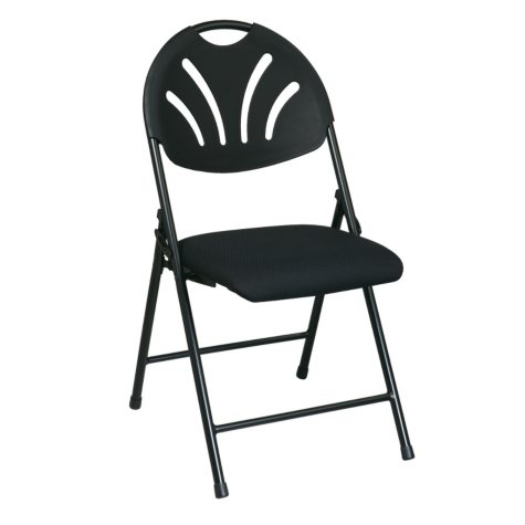 Work Smart Folding Chair with Plastic Fan Back and Fabric Seat - Black - 4 Pack