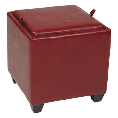 OSP Designs Metro Crimson Red Faux Leather Storage Ottoman with Reversible Wood Tray & Seat Cushion