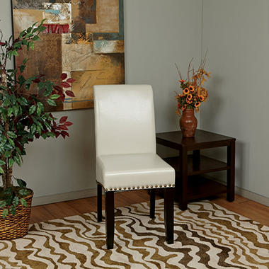 OSP Designs Parsons Dining Chair with Nail Heads - Cream
