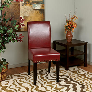 Attractive OSP Designs Parsons Dining Chair With Nail Heads   Crimson Red