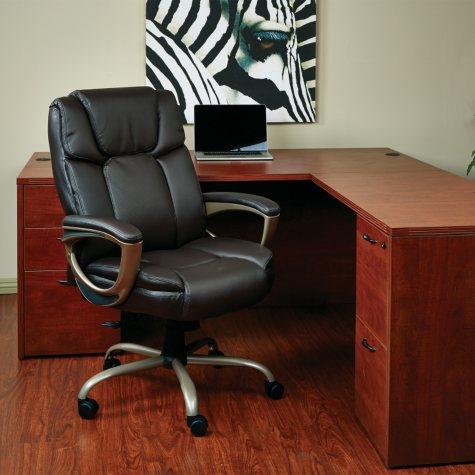 Work Smart Executive Eco-Leather Big Man's Chair - Espresso