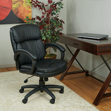Work Smart Mid Back Eco Leather Executive Chair with Padded Arms - Black
