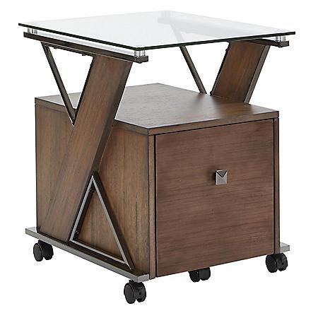 OSP Home Furnishings Eureka File Cabinet with Caramel Wood and Black Nickel Metal Tube