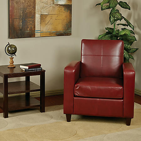 Ave Six Venus Eco Leather Club Chair, Crimson Red