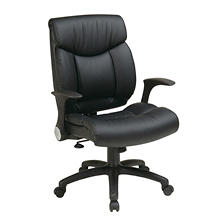 Work Smart Faux Leather Managers Chair with Flip Arms