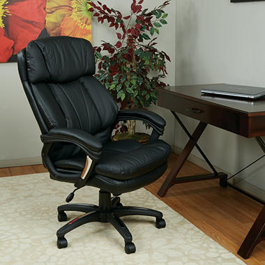 Work Smart Oversized Faux Leather Executive Chair - Black