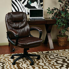 Work Smart Faux Leather Managers Chair with Padded Arms - Brown