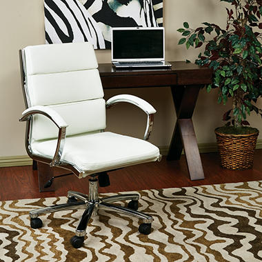 Work Smart Mid-Back Faux Leather Executive Chair, Select Color