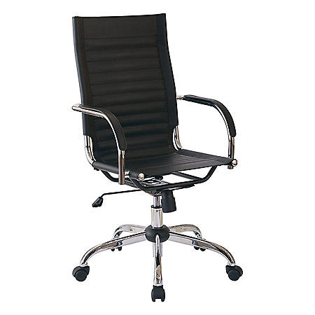 OSP Home Furnishings Trinidad High Back Office Chair with Fixed Padded Arms and Chrome-Finish Base and Fabric Accents