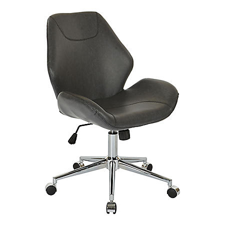 OSP Home Furnishings Chatsworth Office Chair in Faux Leather with Chrome Base, Various Colors