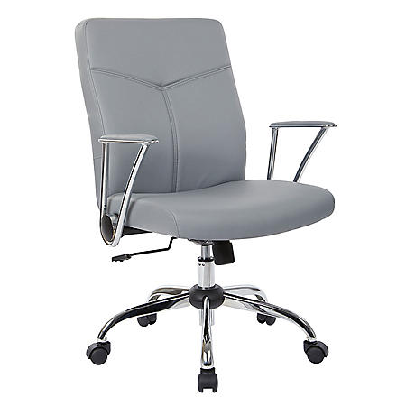 OSP Home Furnishings Faux Leather Chair with Chrome Base, Various Colors