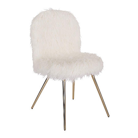 OSP Home Furnishings Julia Chair with White Fur and Gold Legs