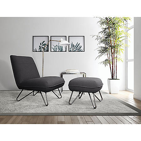 Ave Six, Cortina Chair and Ottoman - Black