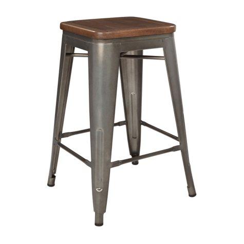 "Ave Six Astoria 24"" Metal Barstool, Matte Gunmetal Frame & Vintage Ash Walnut Finish Seat, Choose a Quantity"