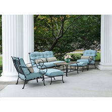 Oceana 6 Piece Patio Set With Stone Top Coffee Table, Various Colors