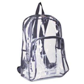 Eastsport - Backpack, PVC Plastic, 12 1/2 x 5 1/2 x 17 1/2 -  Clear/Black