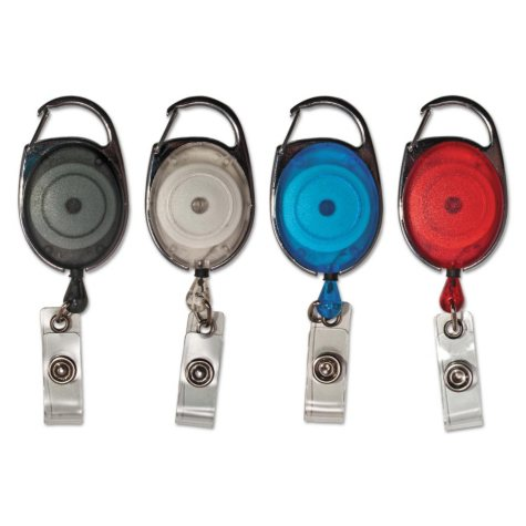 """Advantus - Carabiner-Style Retractable ID Card Reel, 30"""" Extension, Assorted Colors -  20/PK"""