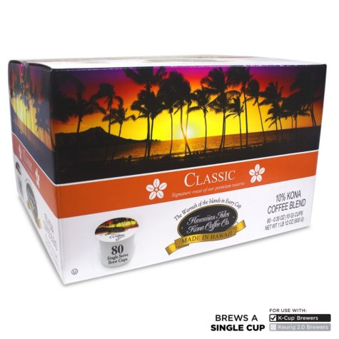 Hawaiian Isles Kona Coffee Co. Classic, Single-Serve Cups (80 ct.)