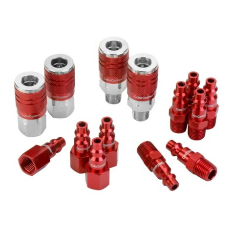 """ColorConnex 14-Piece Coupler & Plug Kit - Type D (1/4"""" NPT, 1/4"""" Body)"""