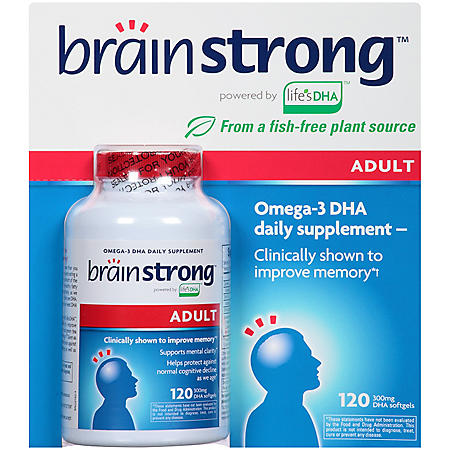 BrainStrong Adult Omega-3 DHA Dietary Supplement Softgels (120 ct.)