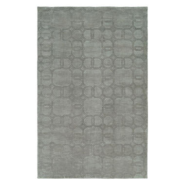 Echo Collection Handwoven Handcarved Wool Area Rug, Silver (Assorted Sizes)