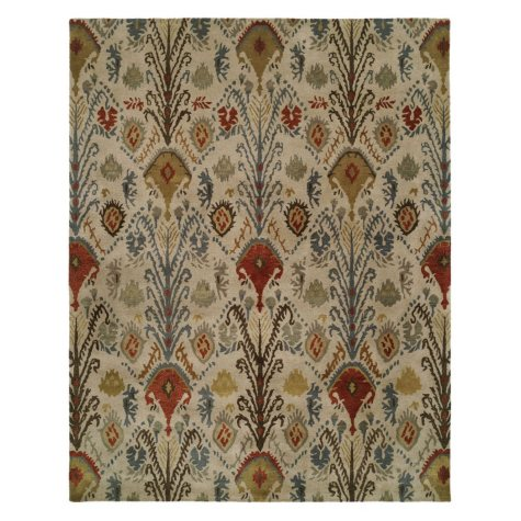 Heirloom Collection Hand-Tufted Wool Area Rug, Foliage Ikat Pattern