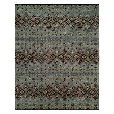 Heirloom Collection Hand-Tufted Wool Area Rug, Linear Ikat Pattern
