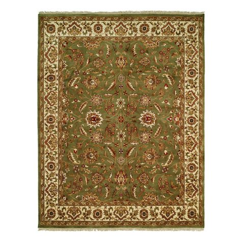 Lateef Collection Handknotted Wool Area Rug, Green And Ivory (Assorted Sizes)