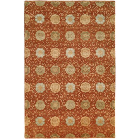 Nirvana Collection Hand-Knotted Wool and Silkette Area Rug, Rust