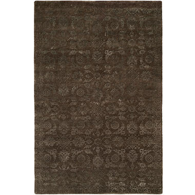 Nirvana Collection Hand-Knotted Wool and Silkette Area Rug, Smokey Brown