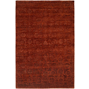 Nirvana Collection Hand-Knotted Wool and Silkette Area Rug, Rich Rusett