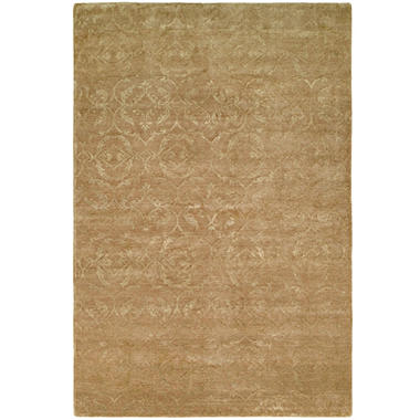 Nirvana Collection Hand-Knotted Wool and Silkette Area Rug, Butternut