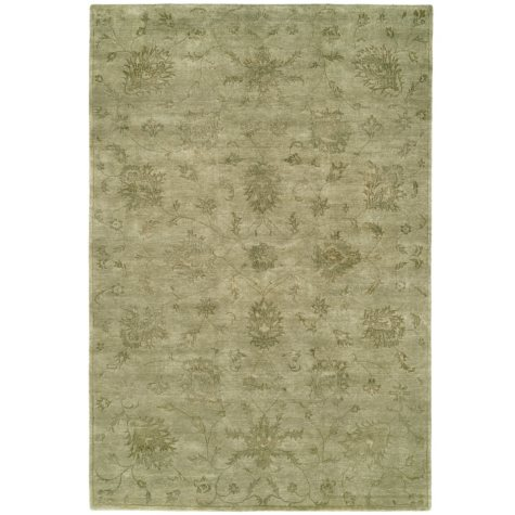 Nirvana Collection Hand-Knotted Wool and Silkette Area Rug, Celadon