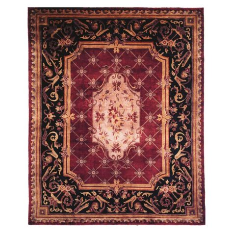 Les Palais Collection Handwoven Premium Wool Area Rug, Plum And Black (Assorted Sizes)