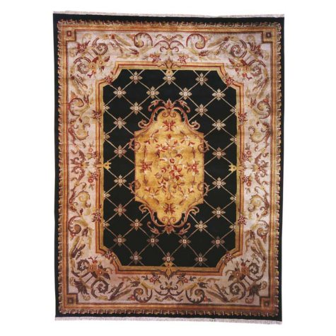 Les Palais Collection Handwoven Premium Wool Area Rug, Black And Ivory (Assorted Sizes)